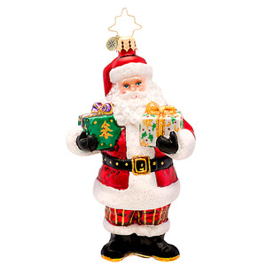 RADKO 1017178 HERE TO CHEER! - SANTA WITH GIFTS ORNAMENT - NEW 2014 (14-7)