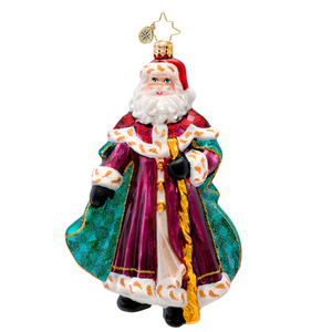 RADKO 1017099 WINTERLAND WANDERER - SANTA WITH TEAL COAT AND STAFF ORNAMENT - NEW 2014 (14-5)