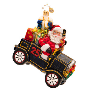 RADKO 1017363 RALEIGH ROADSTER - SANTA DRIVING BLACK MODEL T CAR ORNAMENT - NEW 2014 (14-11)
