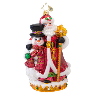 RADKO 1017067 BEST FRIENDS FOREVER - SANTA AND SNOWMAN - SIGNED BY BOTH ARTISTS - DESIGNER'S SIGNING EVENT ORNAMENT - NEW 2013 (13-2)