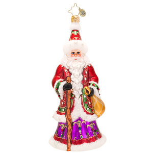 RADKO 1017516 NORTHERN FATHER - LUXE COLLECTION - JEWELED SANTA WITH STAFF AND BAG ORNAMENT - NEW 2014 (14-1)(14-16)