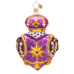 RADKO 1017513 REGAL HEART - LUXE COLLECTION - JEWELED PURPLE HEART WITH CROWN ORNAMENT - NEW 2014 (14-1)(14-16)