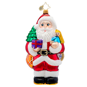 RADKO 1017387 CLASSIC RADKO HEAVY LOAD - SANTA WITH BIG SACK OF GIFTS ORNAMENT - NEW 2014 (14-12)