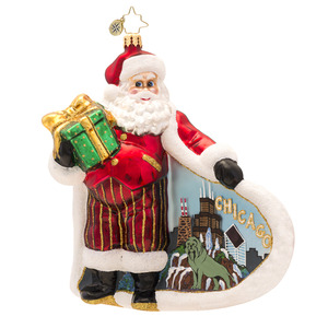 RADKO 1017499 WINDY WANDERER - SANTA IN CHICAGO ORNAMENT - NEW 2014 (14-15)