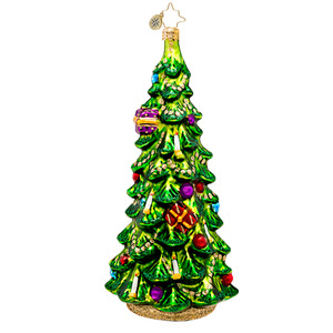 RADKO 1017468 CHRISTMAS GLOW SPRUCE - TREE WITH CANDLES ORNAMENT - NEW 2014 (14-14)