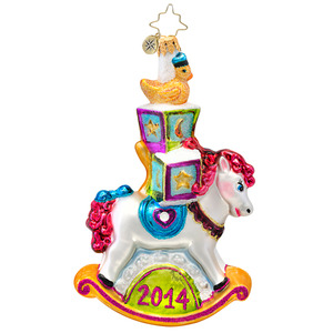 RADKO 1017172 ROCKIN' IN THE YEAR - DATED 2014 - ROCKING HORSE ORNAMENT - NEW 2014 (14-2)