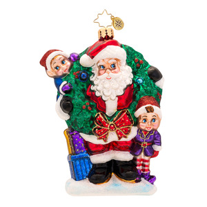 RADKO 1017323 BRING IN THE JOY BRING IN THE FUN - SANTA & ELVES ORNAMENT - NEW 2014 (14-11)