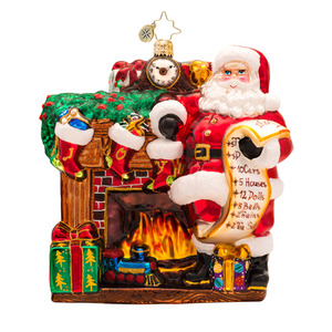 RADKO 1017297 JOYFUL VISIT - SANTA WITH LIST & FIREPLACE - DESIGNER'S CHOICE ORNAMENT - NEW 2014 (14-1)