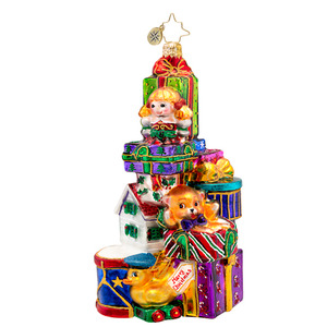 RADKO 1017434 SOMETHING FOR EVERYBODY - STACK OF TOYS AND PRESENTS ORNAMENT - NEW 2014 (14-13)