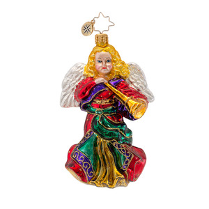 RADKO 1016890 FLOWING MELODY - ANGEL WITH HORN - RELIGIOUS ORNAMENT - NEW 2014 (13-18)