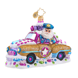 RADKO 1017573 CANDY COP CRUISER - POLICEMAN IN GINGERBREAD CAR ORNAMENT - NEW 2015 (15-3)