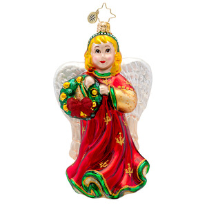 RADKO 1017230 ANGELIC ANNA - ANGEL WITH WREATH ORNAMENT - NEW 2014 (14-8)