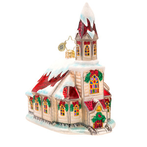 RADKO 1017519 RUBY RED CHAPEL - SNOW COVERED CHURCH ORNAMENT - NEW 2014 (14-16)