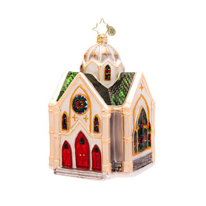 RADKO 1017269 HEAVENLY REFLECTIONS - CHURCH ORNAMENT - NEW 2014 (14-9)
