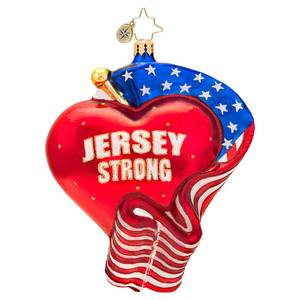RADKO 1017517 JERSEY STRONG - HEART & FLAG - PATRIOT ORNAMENT - NEW 2014 (14-16)