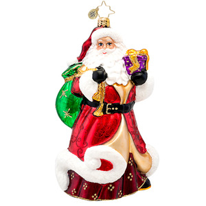 RADKO 1017242 RUBY ROBE KRINGLE - LIMITED EDITION - ELEGANT SANTA WITH GIFT ORNAMENT - NEW 2014 (14-2)