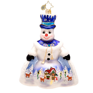 RADKO 1017404 SNOW SCENE LIKE THIS SCENE - LIMITED EDITION - SNOWMAN WITH PAINTED SCENE ORNAMENT - NEW 2014 (14-2)