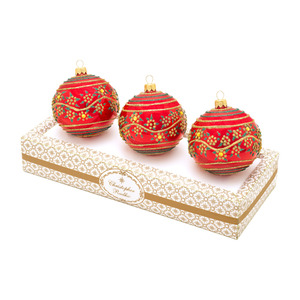 RADKO 1017335 BOXED GLASS SET - RED WITH GOLD AND GREEN ORNAMENTS - MADE IN POLAND - NEW 2014