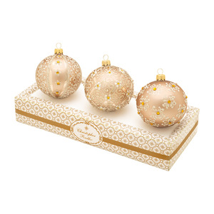 RADKO 1017340 BOXED GLASS SET - CHAMPAGNE WITH WHITE ORNAMENTS - MADE IN POLAND - NEW 2014