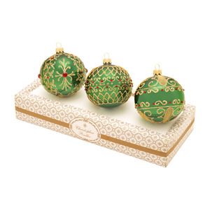 RADKO 1017345 BOXED GLASS SET - GREEN WITH GOLD AND RED ORNAMENTS - MADE IN POLAND - NEW 2014