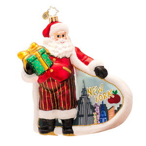 RADKO 1017328 CITY SCAPE SANTA - SANTA WITH PAINTED NEW YORK CITY SCENE ORNAMENT - NEW 2014 (14-11)