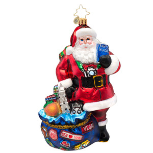 RADKO 1017095 I'VE BEEN EVERYWHERE - SANTA WITH CAMERA AND BAG OF LANDMARKS ORNAMENT - NEW 2014 (14-4)