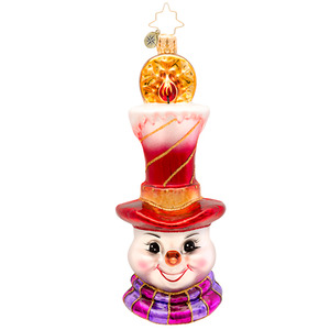 RADKO 1017183 A SNOWLIGHT DELIGHT - SNOWMAN WITH CANDLE HAT ORNAMENT - NEW 2014 (14-7)