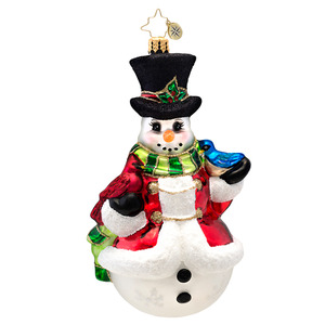 RADKO 1017264 WINTER'S TRILL - SNOWMAN WITH CARDINAL AND BLUEBIRD ORNAMENT - NEW 2014 (14-9)