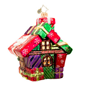 RADKO 1017418 THE GIFT COTTAGE - HOUSE MADE OF GIFT BOXES ORNAMENT - NEW 2014 (14-13)