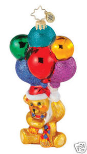 RADKO 1015002 UP UP & AWAY - BEAR AND BALLOONS - PEDIATRIC CANCER CHARITY - RETIRED ORNAMENT (Q)
