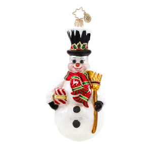 RADKO 1017585 STATELY SWEEPER - SNOWMAN WITH SCARF & BROOM ORNAMENT - NEW 2015 (15-4)