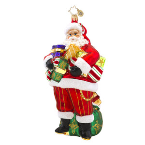 RADKO 1017560 ARM FULL OF JOY - SANTA WITH GIFTS AND BAG ORNAMENT - NEW 2015 (15-3)