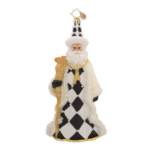 RADKO 1017562 CHECKMATE - BLACK & WHITE JEWELED SANTA WITH STAFF & WREATH ORNAMENT - NEW 2015 (15-3)