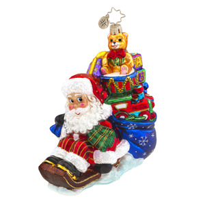 RADKO 1017571 WEE JOLLY SLEIGH RIDE - SANTA ON SLED WITH SACK OF TOYS ORNAMENT - NEW 2015 (15-3)