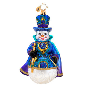 RADKO 1017563 SNOWY PLUMAGE - SNOWMAN WITH PEACOCK FEATHER & STAFF ORNAMENT - NEW 2015 (15-3)