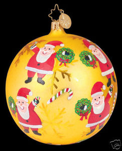 RADKO 1011111 CANDY SANTY TOSS - GOLD - SANTA - BALL - RETIRED ORNAMENT (LL)