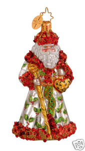 RADKO 1014010 LUXBERRY HOLIDAY- HEART DISEASE CHARITY- SANTA ORNAMENT - RETIRED (GG3)