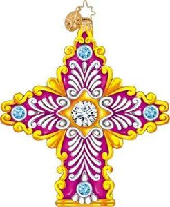 RADKO 1011058 RADIANCE - JEWELS - PURPLE CROSS ORNAMENT