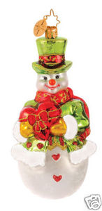 RADKO 1014609 SNOWHEART SENTIMENTS - HEART DISEASE CHARITY AWARENESS - SNOWMAN ORNAMENT (G4)