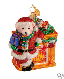 RADKO 1014231 POLAR POSE - BEAR & FIREPLACE ORNAMENT (G4)