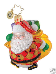 RADKO 1015061 HAPPY HARLEQUIN GEM - SANTA WITH SACK OF GIFTS - RETIRED ORNAMENT (18)