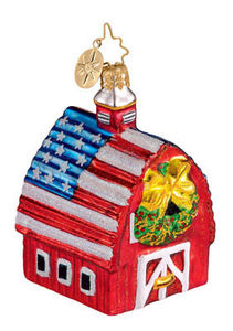 RADKO 1012213 HEARTLAND HOLIDAY - PATRIOTIC BARN ORNAMENT - RETIRED (HH)