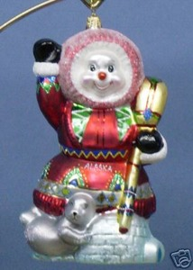 RADKO 3010750 ESKI SNOW - EXCLUSIVE - SNOWMAN - RETIRED ORNAMENT (DD)