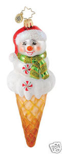 RADKO 1014989 SNOW CONE - SNOWMAN - ICE CREAM CONE - RETIRED ORNAMENT (Q1)