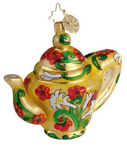 RADKO 1012429 TEA GARDEN - TEA POT - YELLOW - RETIRED ORNAMENT (UU)