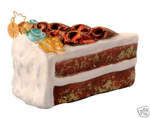 RADKO 1013433 AUNT BEA'S RECIPE - WHITE ICING CAKE - RETIRED ORNAMENT (W)