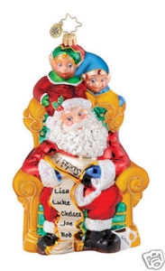 RADKO 1015042 PEEKIN' PALS - SANTA & ELVES - RETIRED ORNAMENT (Q2)