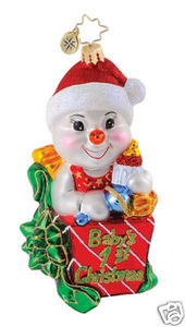 RADKO 1014840 SNOW BABY HIJINX - BABY'S 1ST ORNAMENT - NEW 2010 (Q1)
