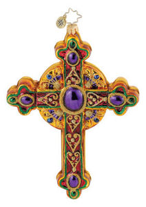 RADKO 1015156 REGAL ROOD - RELIGOUS - CROSS - RETIRED ORNAMENT (Q6)