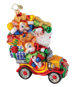 RADKO 1015177 REINDEER ROADSTER - SANTA IN CAR ORNAMENT - NEW 2010 (Q7)